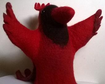 Felted Cardinal bird hand puppet  Птица Кардинал