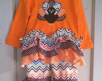 Girls thanksgiving turkey ruffle outfit.
