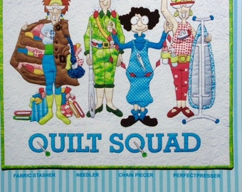 """QUILT SQUAD by Amy Bradley Designs Art Quilt Pattern 21"""" x 23 1/2"""" wall hanging"""