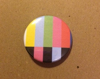 TV Pattern Inspired Pinback Button
