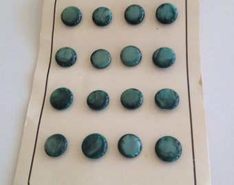 """Vintage Green Variegated Plastic Buttons on Card Fashion-Tone 1/4"""" Diameter B20"""