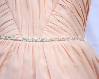 Thin Bridesmaids Belt Bridal Belt Bridal headband Wedding Belt Crystal Rhinestone Belt Pink Bridal Sash belt Dressy Belt