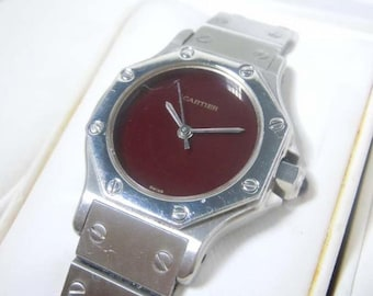 Ladies Cartier Santos Rare Octagon Bezel Burgundy Dial Ruby Crown