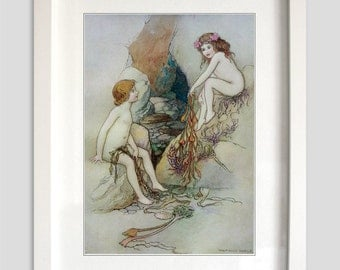 Beautiful Vintage Water Babies Print from the story by Charles Kingsley No.3