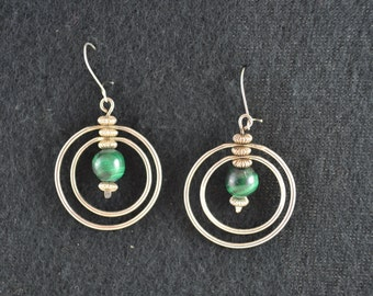 Sterling silver earring hoops with malachite beads