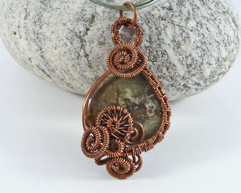 copper wire wrapped gemstone pendant snakeskin jasper