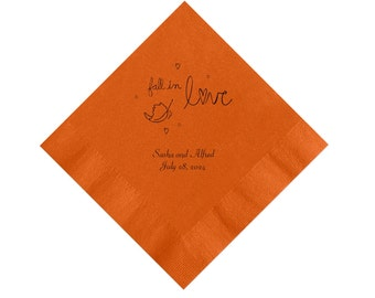 Fall in Love Fall Wedding Napkins Personalized Set of 100 Napkins