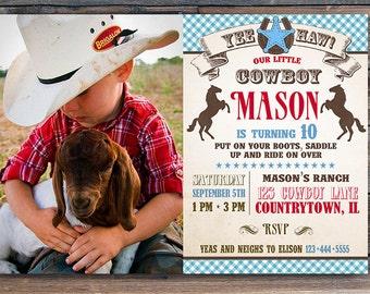 Cowboy Birthday Invitation - Western Birthday Party - Cowboy Party - Western Party  - 7 x 5 printable card - Photo Card - DIY