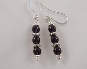 Long Purple Tanzanite Czech Glass Earrings