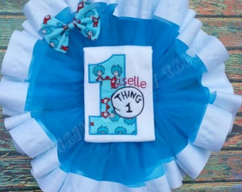 BOY and/or GIRL Thing 1 and Thing 2 Dr. Seuss Shirts Shorts Tutu Bow Tie