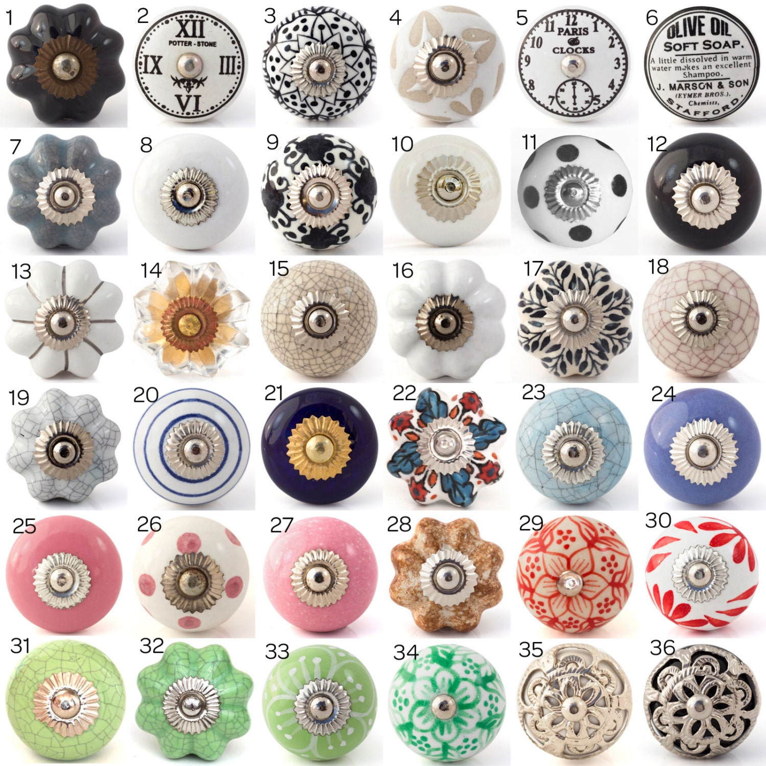 Ceramic Porcelain Door Knobs Various Multi Coloured Designs