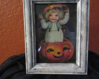 Vintage Halloween  card Print Mixed media framed Great party decor, prop ,Holiday decor ,child, pumpkin