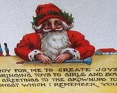 Antique Christmas Post Card, Santa Poem