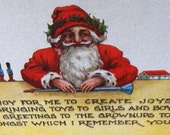 Antique Christmas Post Card, Santa Poem
