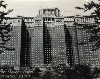 Vintage Stevens Hotel Chicago Post Card