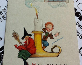 Antique Halloween Frances Brundage Postcard, Candlestick Boy and Witch