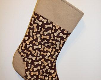 Dog Bone Christmas Stocking - Tan Accents