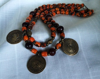 African  and Brass Beads Necklace