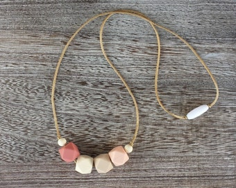 Silicone Teething Necklace Silicone Nursing Necklace - Pink and Gold Necklace Chew Beads - BPA Free, Non Toxic