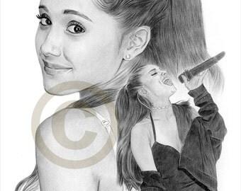 ARIANA GRANDE pencil drawing print - A4 size - artwork signed by artist Gary Tymon - Ltd Ed 50 prints only - portrait art
