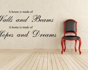 Living Room Wall Art, Walls and Beams, Hopes and Dreams, Wall Sticker, Decal