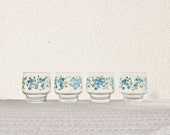 Set of 4 water glasses Arcopal Myosotis Forget me not Veronica Vintage / Home deco / Holy10