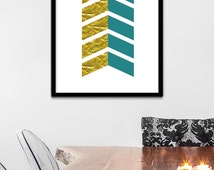 Teal Nursery Theme, Teal and Gold Art, Gold Wall Art, Teal Gold Print, Gold Teal Chevron Art, Gold Chevron Wall Decor, Chevron Gold Print