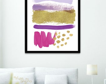 Abstract Art Print, Contemporary Print, Gold and Purple Modern Print, 4x6 Print, 5x7 Print, 8x10 Print, 11x14 Print, 12x16 Print, 16x20 Art