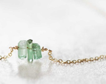 Tiny Green Tourmaline Crystal Necklace on Sterling Silver, Oxidized Silver or Gold Filled Chain, Delicate Tourmaline Jewelry, Raw Tourmaline
