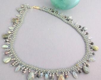 Labradorite Necklace, Statement Necklace, Beadwoven Necklace, Gemstone necklace, Catseye Necklace, Earthy Necklace, Everyday Necklace