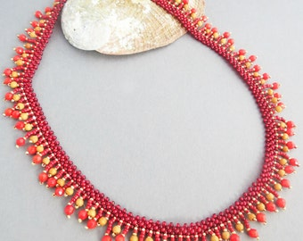 Coral Necklace, Statement Necklace, Beadwoven Necklace, Gemstone necklace, Red Necklace, Sandalwood Necklace, Everyday Necklace, Boho choker