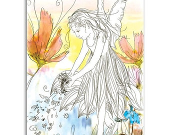 Sunset Faerie, Note Cards - Set of four 5x7 note cards - painting and poem by Claire