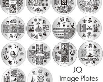 JQ Image Plates for Nail Art stamping Stencil Metal Tamplate Round patterns nautical christmas sailor moon animals paris