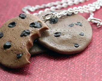 Chocolate Chip Cookie Polymer Clay Necklace *Free Shipping*