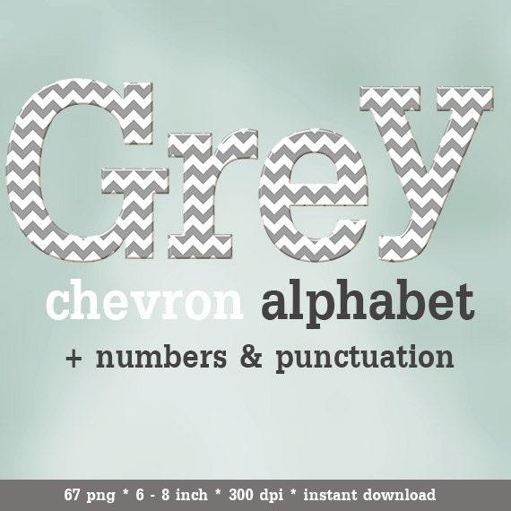 Gray Alphabet Font: Grey White Chevron Digital Alphabet Clipart, Printable