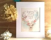 Woodland Deer - Customizable Print - Girl's room