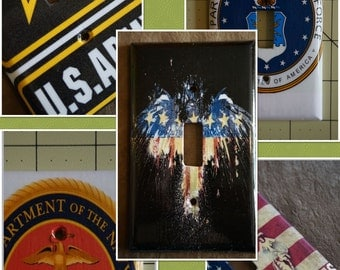 Army, Navy, Air Force, Marines, Eagle Flag Military Light Switch Covers/Plates