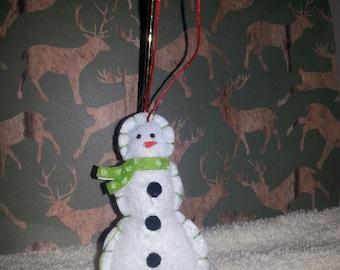 Snowman Felt Ornament, Christmas Snowman Ornament, Snowman Ornament, Green Ornament, Christmas Tree Ornament