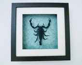 Eclectic Entomology | 3D Wall Art | Faux Taxidermy Shadow box | Black Scorpion | cardstock, salvaged wallpaper