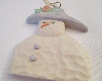 Porcelain SNOWMAN - Flat Elegant Snow-Woman with Carrot Nose