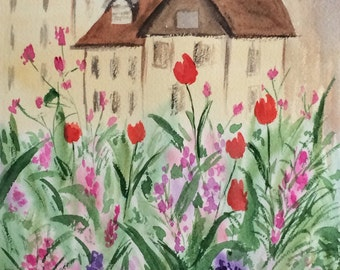 ORIGINAL Watercolor House with flowers, 8x10, Flowers Watercolor Painting, Watercolor Landscape