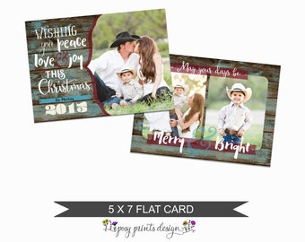 Rustic Christmas Card Template - 5x7 Photo Card - Photoshop Template - INSTANT DOWNLOAD or Printable - CC19