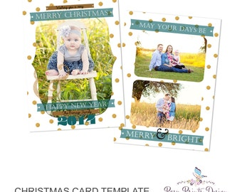 Gold Christmas Card Template - 5x7 Photo Card - Photoshop Template - INSTANT DOWNLOAD or Printable - CC18V
