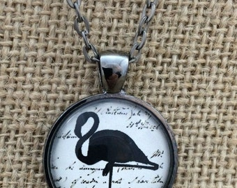 Flamingo With Script Writing Background - Glass Pendant Necklace with Chain- Mother's Day Gift, Friend Gift, birthday gift,