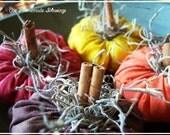 4 Pumpkin Ornies, Bowl Fillers, Fall Decor, Autumn, Harvest, Thanksgiving, Primitive, Country, Farmhouse