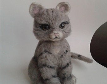 Needle felted Animal  felted Cat, Kitten Tabby Cat pet gift miniature cat tabby grey black markings, unique gift idea Christmas present
