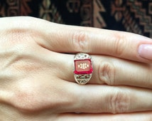 Sterling Silver (925) and ruby Bahá'í Ring with the Ringstone Symbol - LGRS4416-A