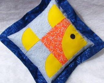SUMMER SALE!  Yellow, Orange & Blue Fish Pillow