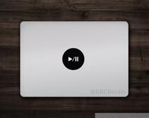 Play / Pause Circle - Mac Apple Logo Cover Laptop Vinyl Decal Sticker Macbook Unique Shape Square Hexagon Triangle 3D Music Audio Computer