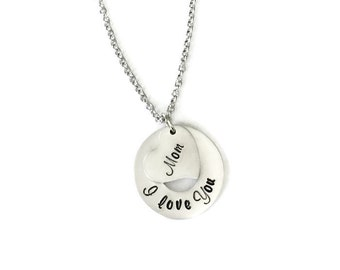 i love you necklace | mom necklace | personalized hand stamped necklace